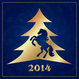 Background with horse silhouette and Christmas tree Stock Images