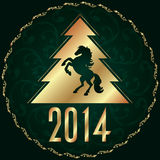 Background with horse silhouette and Christmas tree Royalty Free Stock Image