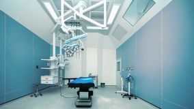 Hospital empty operation room with surgery bed and surgery light. Background of hospital empty operation room with surgery bed and surgery light royalty free stock photos
