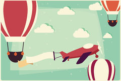 Background with hot air balloons and airplane with ribbon Royalty Free Stock Photography