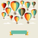 Background of hot air balloons and clouds Royalty Free Stock Photo