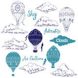 Background with Hot Air Balloons and Clouds Royalty Free Stock Photography
