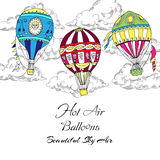 Background with Hot Air Balloons Stock Image