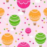 Background with hot air balloons and heart. Stock Image