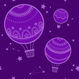 Background with hot air balloons. Royalty Free Stock Photo