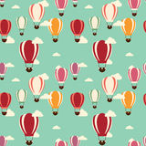 Background with hot air balloons, seamless pattern Royalty Free Stock Photos