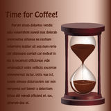 Background with hourglass with coffee Royalty Free Stock Images