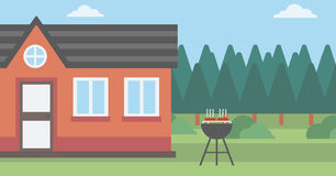 Background of the house with barbecue. Royalty Free Stock Photo
