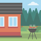 Background of the house with barbecue. Royalty Free Stock Images