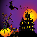 Background with house by pumpkin and eagle owl Stock Photography
