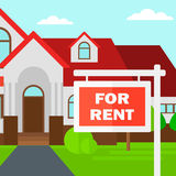 Background of house with for rent real estate sign. Stock Image