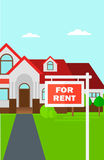 Background of house with for rent real estate sign. Stock Photography