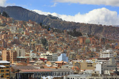 Background of houses in La Paz Bolivia Royalty Free Stock Image