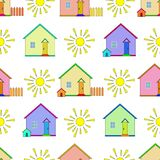 Background, houses and sun Stock Images