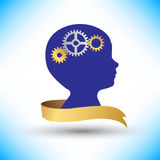 Background human head with gears and cogs Royalty Free Stock Images
