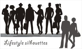 Background with human silhouettes easy to modify Stock Photo