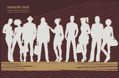 Background with human silhouettes easy to modify Royalty Free Stock Photo