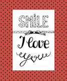 Background with a humorous inscription Smile, I love you. Royalty Free Stock Images