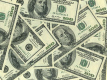 Background of hundred dollar bills. Close-up Royalty Free Stock Photos