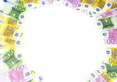 Background of hundreds euro. Isolated photo of an object Royalty Free Stock Images