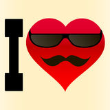 Background I love glasses and mustache Royalty Free Stock Photo