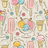 Background with  ice cream and bonbons Royalty Free Stock Photos