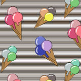 Background with ice cream and bonbons. Ideal for printing onto fabric paper or scrap booking. Cute cartoon gelato Stock Photography