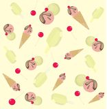 Background from ice-cream and cherry Stock Photos