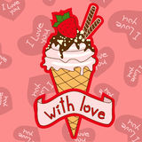 Background with ice cream cone Stock Image