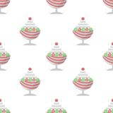 Background for ice cream dessert. Seamless pattern with ice cream dessert with berries in cup in pastel colors on white background Royalty Free Stock Image