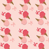 Background of ice cream two color red strawberry sherbet  and pi Royalty Free Stock Image