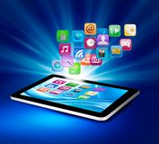 Background with icons in a tablet. stock illustration
