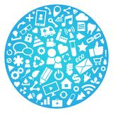 Social media, background of the icons Stock Image