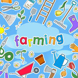 The background illustratio on the theme of farm and spring colored simple icons stickers on a blue background and the inscription