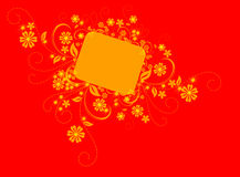 Background  Illustration. Floral border / Frame with yellow flowers and swirls over red Stock Images