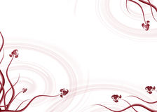 Background illustration. Red white background of love with ornaments and hearts Royalty Free Stock Photography