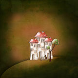 Background with illustration. Houses and a tree Stock Photography
