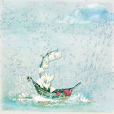 Background with illustration. A boat decorated with flowers on a rainy day Stock Image