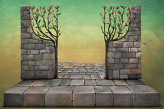 Background or illustration with apple trees. Royalty Free Stock Image
