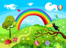 Background. Vector Illustration of a beautiful forest background Stock Photos