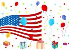 Background illustration of celebrating 4th July. On white Royalty Free Stock Photo
