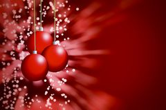 Christmasballs background on red with blur royalty free illustration