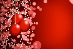 Christmasballs background on red with blur stock illustration