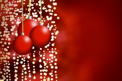 Christmasballs background on red with blur vector illustration