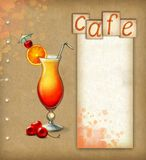 Background with illustration of cocktail Stock Images