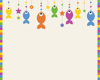 Background illustration with colorful fishes,circles and stars hanging. Stock Images