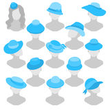 Background illustration of different women's hats in a retro sty Royalty Free Stock Image