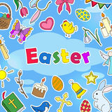 The background Illustration on the Easter theme, simple colored stickers icons on a blue background and the words `Easter` Royalty Free Stock Photo