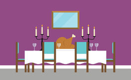 Background Illustration Of Empty Dining Room vector illustration