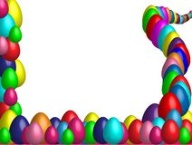 A background illustration featuring a top and bottom border of colourful decorated 3D Easter eggs in various colors. Easter border / background for your design stock illustration